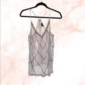 Rue 21 grey sequin and bees mesh tank